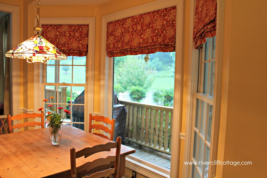 red and yellow kitchen window treatments