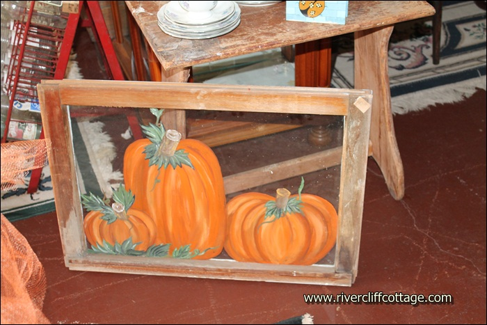 Pumpkin Painting on Window Frame