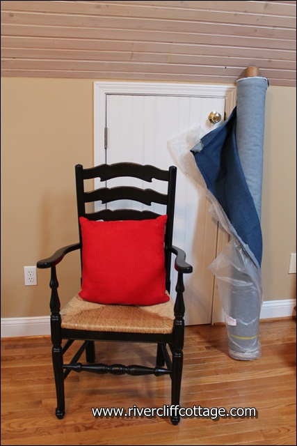 Black Chair Red Pillow Denim
