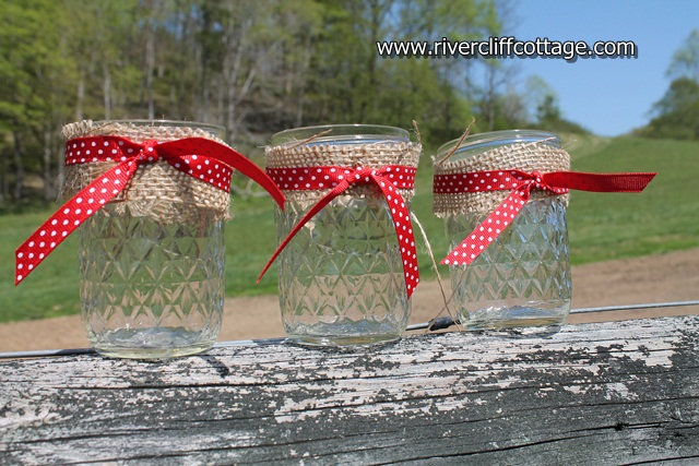 Jelly Jar Votives in Bow Ties