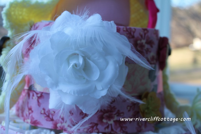 Flower on Shabby Chic Diaper Cake