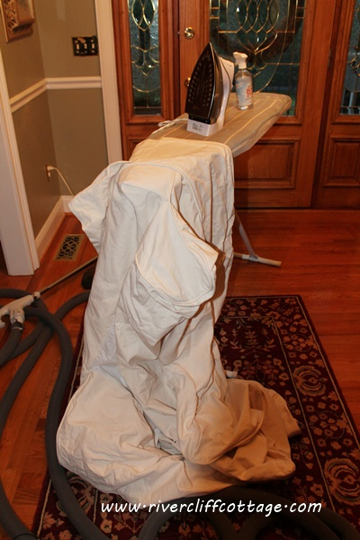 Slipcover Being Ironed