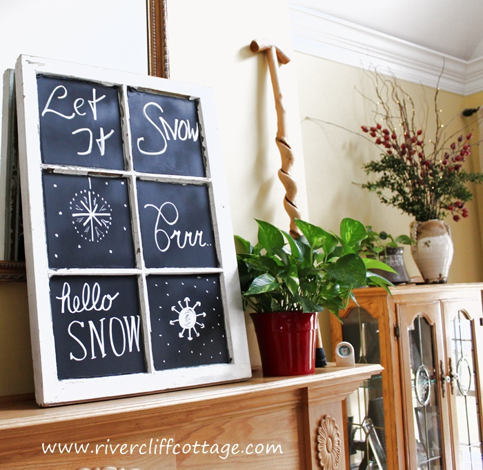 Snow Chalkboard Window 1