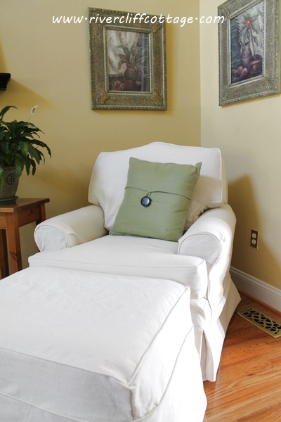 White Chair and Ottoman Slipcover 2